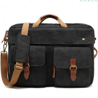 Canvas Travel Rucksack Messenger Bag Men Business Briefcase Convertible Backpack Laptop Handbag - ORSTAR